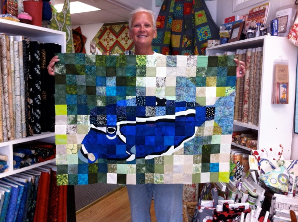Trish and her fish quilt