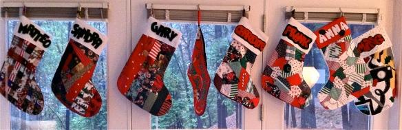 lineup of Christmas stockings