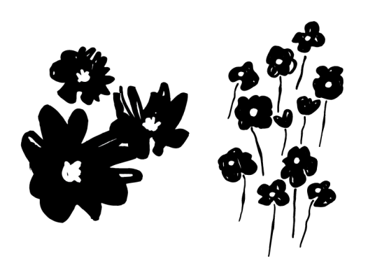 black and white flower art