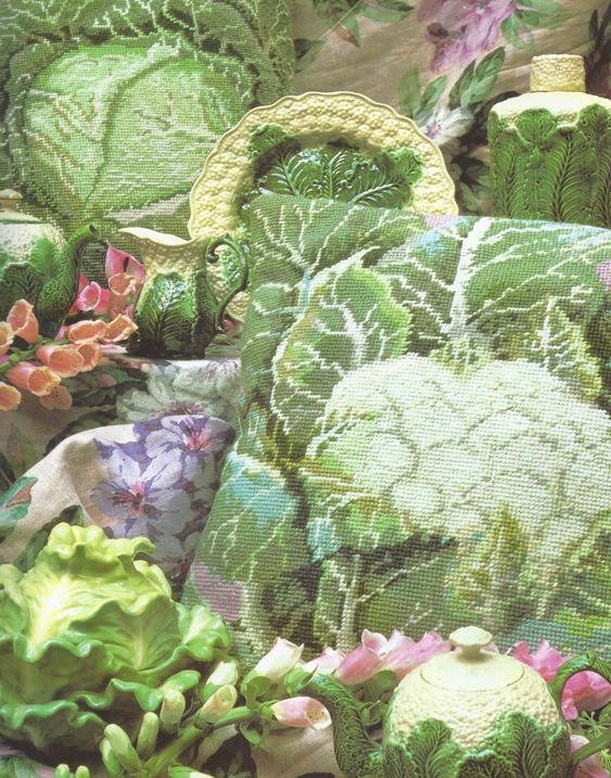 2 Needlepoint cabbage
