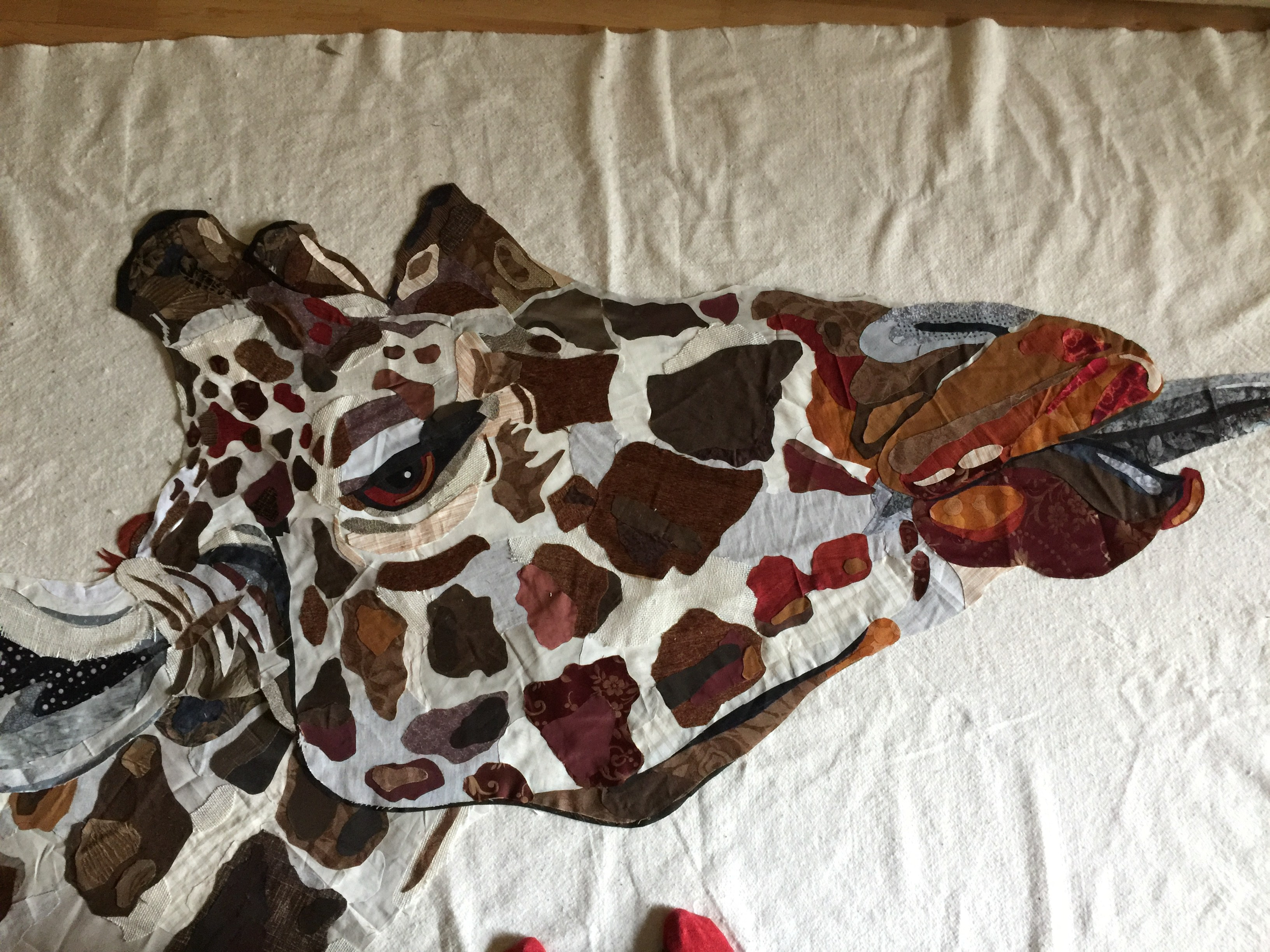Completed giraffe head by Jane Haworth