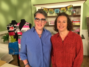 Susan Brusker Knapp and I on the set of Quilting Arts TV