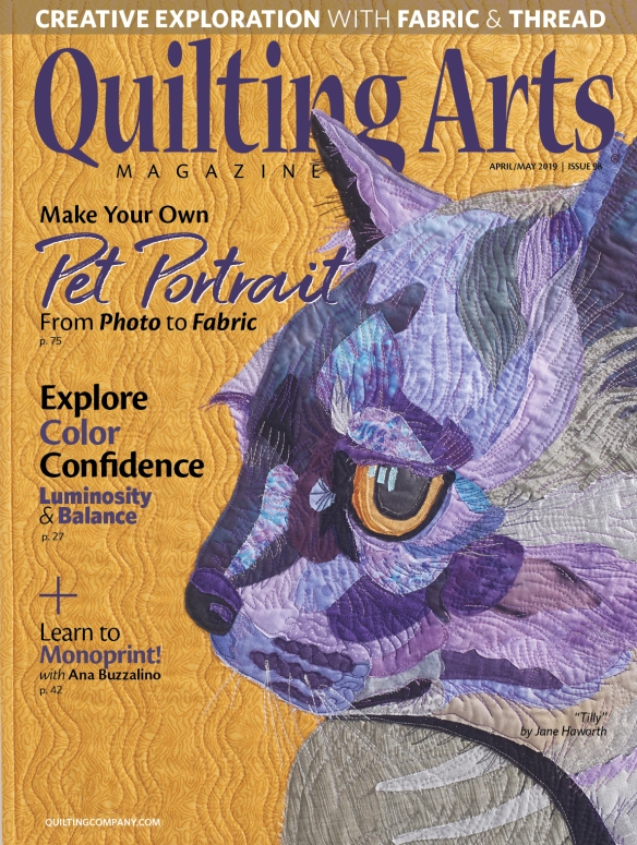 Cover of April/May 2019 Quilting Arts Jane Haworth