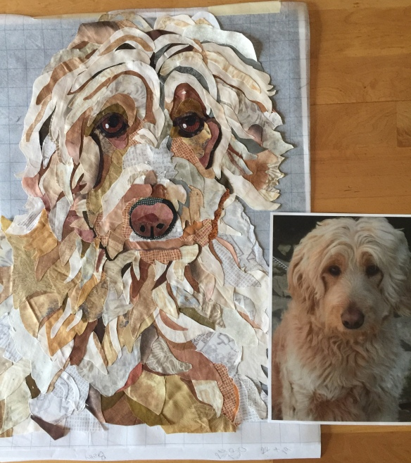 Fabric collage pet portraits by Jane Haworth